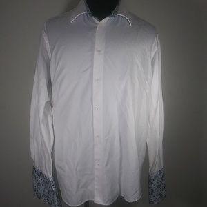 Robert Graham Shirt Sz XL White Paisley Flip Cuffs